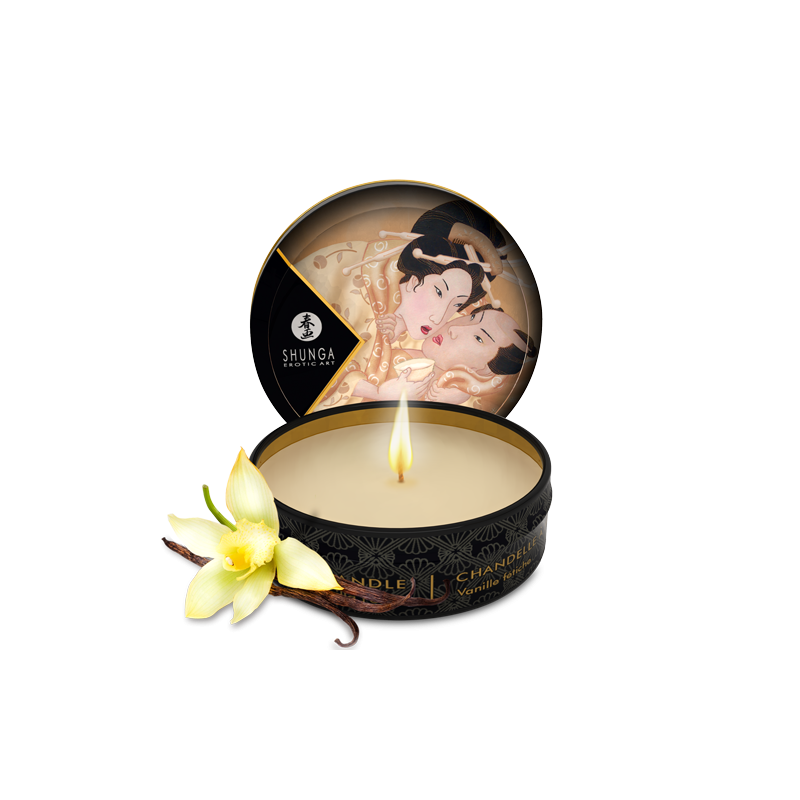 Mini bougie de massage lueur et caresse - désir - vanille