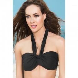Haut de maillot de bain bandeau effet drapé Style 6848 - Noir - les nuances du désir