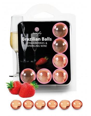 6 Brazilian Balls Fraise  Champagne 3386-2 - les nuances du désir