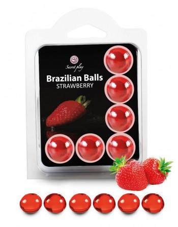 6 Brazilian Balls Fraise 3386-7 - les nuances du désir