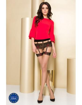 TI103 Collants 20 DEN - Nude et Rouge - les nuances du désir