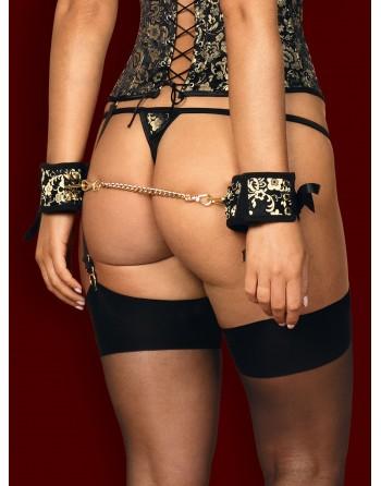 Shelle Menottes avec chaîne - Noir et or - les nuances du désir