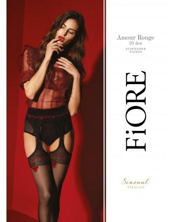 Amour Rouge Bas jarretelles 20 DEN - Noir et Rouge - Qualité premium - les nuances du désir