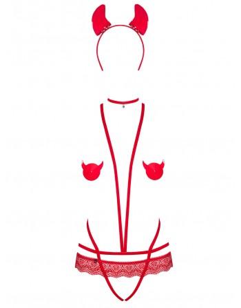 Evilia Ensemble 4 pièces - Rouge - les nuances du désir