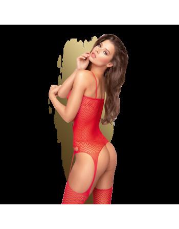 Hot nightfall Bodystocking - Rouge - les nuances du désir
