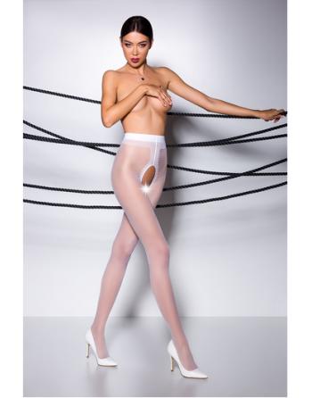 TI007R Collants ouverts 30 DEN - Blanc - les nuances du désir