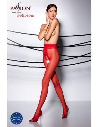TI007R Collants ouverts 20 DEN - Rouge - les nuances du désir