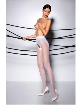 TI006R Collants ouverts 30 DEN - Blanc - les nuances du désir