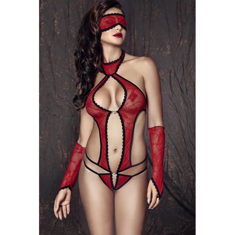 Body sexy Ashley rouge - les nuances du désir